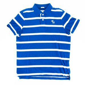 Abercrombie Men's Polo Shirt Muscle Striped Blue
